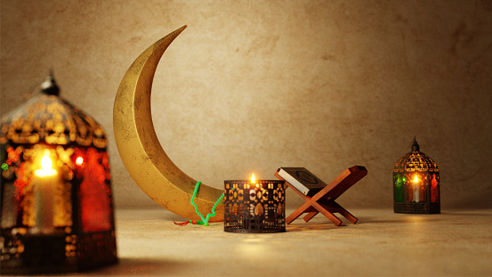 3D Render of Muslims festival elements and Rehal (Quran Book) on brown wall texture background. 1146407857