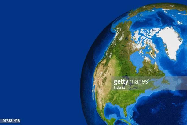 Rendu 3D de la planète terre avec le Canada, USA et le Groenland dans le foyer principal.