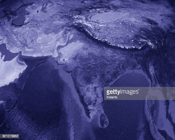 3D render of planet Earth with China and India in main focus.