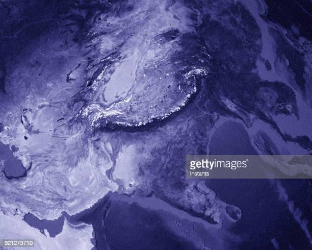 3D Rendern des Planeten Erde mit China und Indien im Vordergrund.