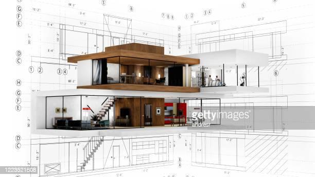 render van het ontwerp van een eigentijds huis - architectuur stockfoto's en -beelden
