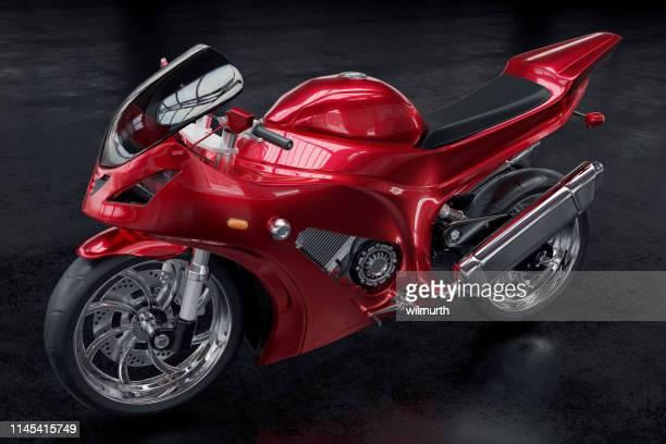 黒の背景に金属製の赤いオートバイの3d レンダリングイメージ - オートバイ競技 ストックフォトと画像