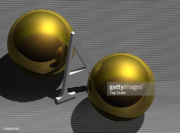 CG rendering, alphabet, sphere