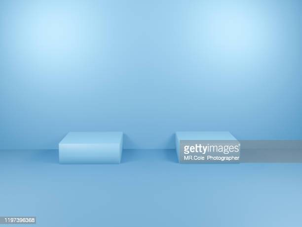 3d rendering blue cube shape stage or podium for advertisement,blue backgrounds with copy space - blau stock-fotos und bilder