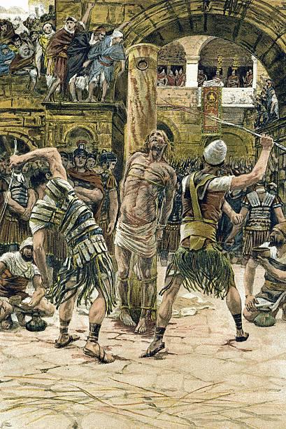 Rendering depicting public beating of Jesus