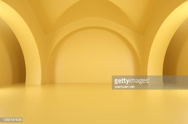 3d rendering exhibition background - arco architettura foto e immagini stock