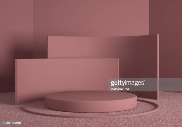 3d rendering exhibition background - 台座 ストックフォトと画像