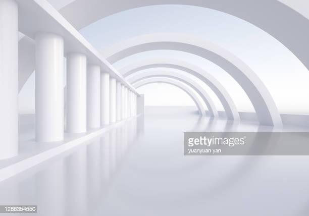 3d rendering exhibition background - 柱 ストックフォトと画像