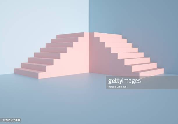 3d rendering exhibition background - staircase stock pictures, royalty-free photos & images