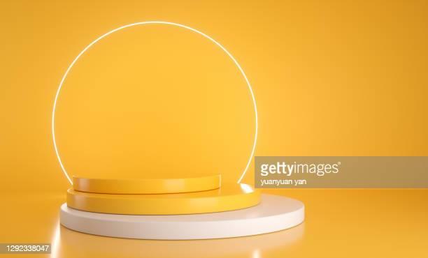 3d rendering exhibition background - winners podium imagens e fotografias de stock
