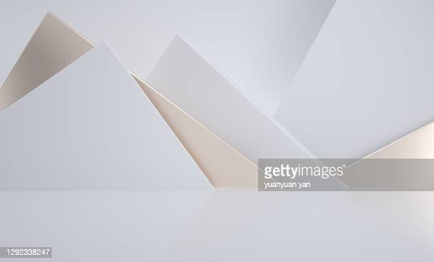 3d rendering exhibition background - triangle shape stock pictures, royalty-free photos & images