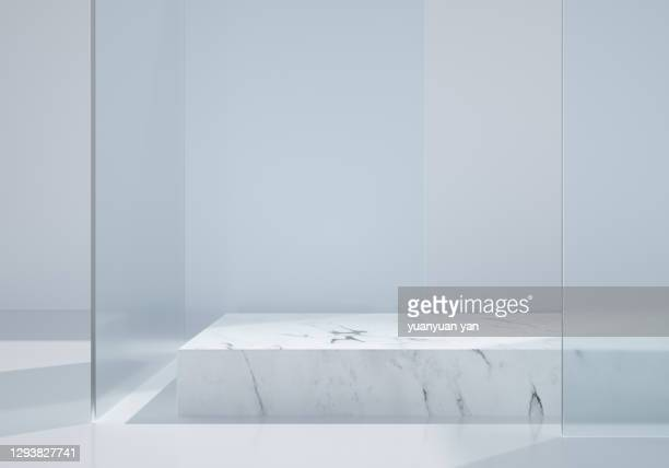 3d rendering exhibition background - pedestal stock pictures, royalty-free photos & images