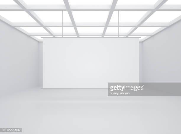 3d rendering exhibition room background - domestic room stock pictures, royalty-free photos & images