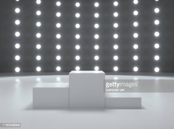 3d rendering exhibition room - winners podium stock pictures, royalty-free photos & images