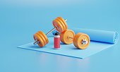 3D rendering fitness Equipment on color  background.