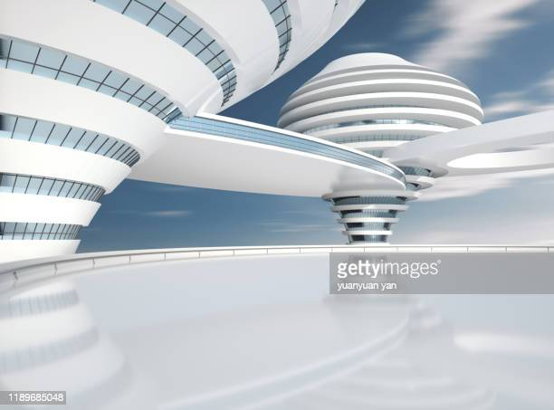 3d rendering futuristic building background - human settlement stock pictures, royalty-free photos & images