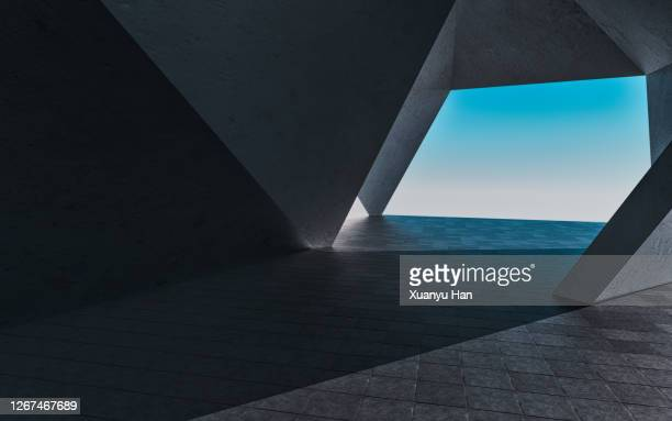 3d rendering futuristic building background - architecture stock pictures, royalty-free photos & images