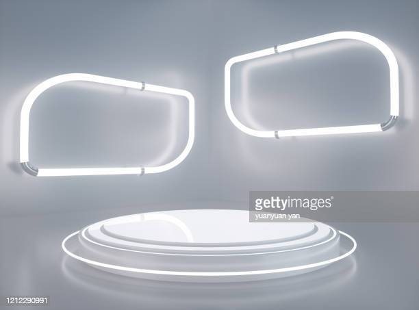 3d rendering futuristic exhibition room background - stage performance space stock pictures, royalty-free photos & images