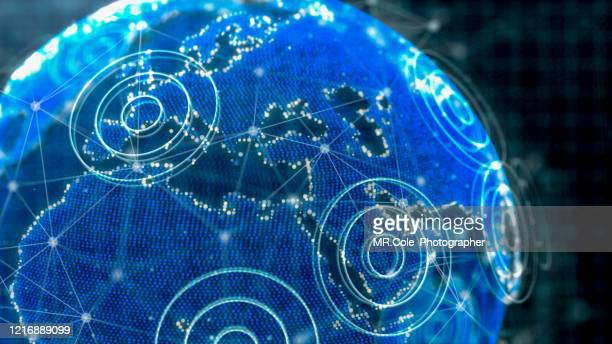 3d rendering futuristic global communication concept,technology network data connection and wireless technology,network marketing and cyber security - big data globe stock pictures, royalty-free photos & images