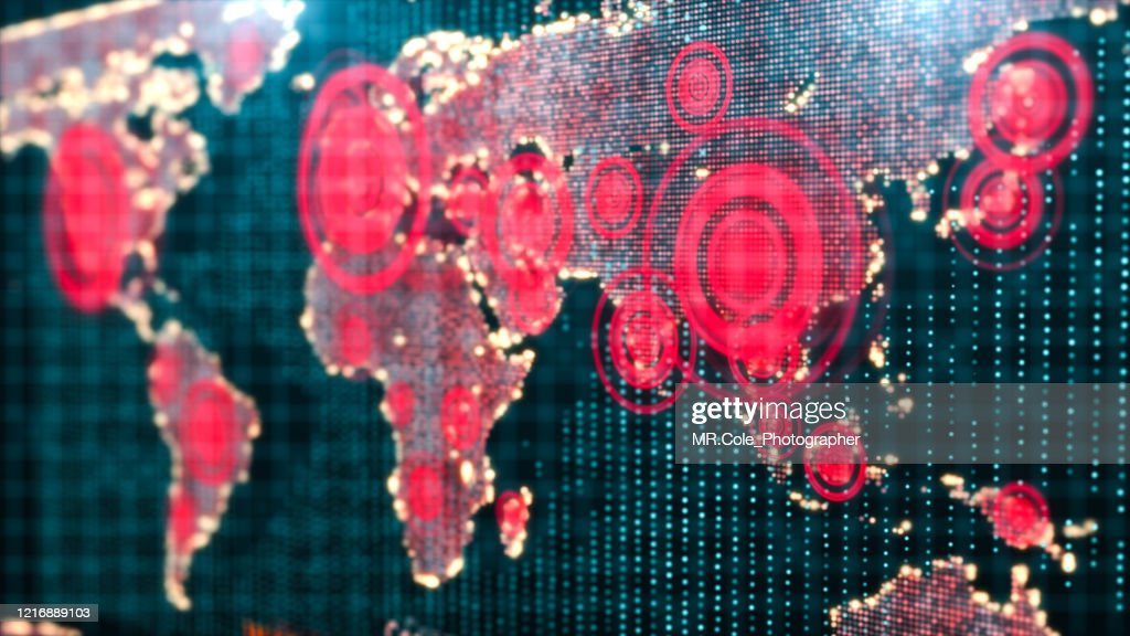 3D rendering Futuristic world map interactive displaying the Corona virus or COVID-19 outbreak concept,Digital design for Science and technology Background : Stock Photo