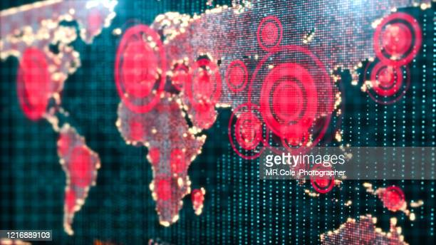 3d rendering futuristic world map interactive displaying the corona virus or covid-19 outbreak concept,digital design for science and technology background - globale kommunikation stock-fotos und bilder