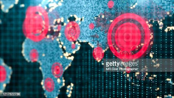 3d rendering futuristic world map interactive displaying the corona virus or covid-19 outbreak concept,digital design for science and technology background - south east asia stock pictures, royalty-free photos & images