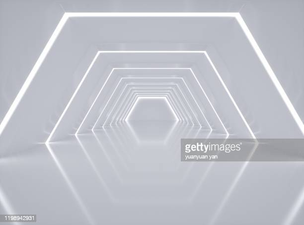 3d rendering illustration hexagon background - man made structure stock pictures, royalty-free photos & images