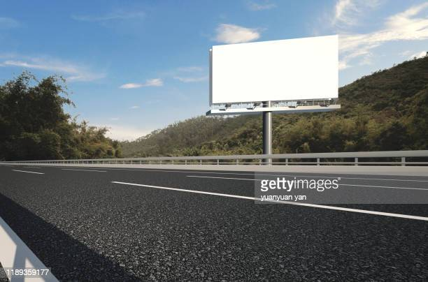 3d rendering illustration highway background - billboard highway stock pictures, royalty-free photos & images