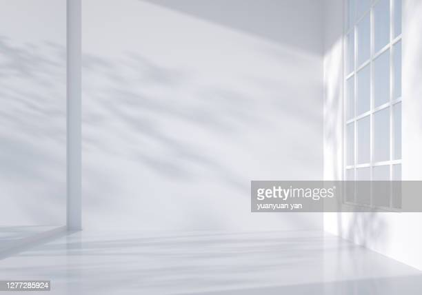 3d rendering indoor background - white stock pictures, royalty-free photos & images