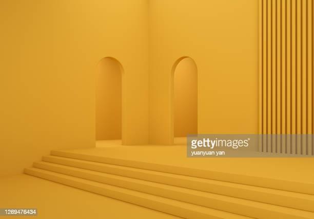 3d rendering interior background - arco architettura foto e immagini stock
