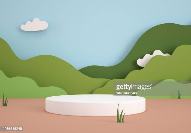 3d rendering nature product background - 台座 ストックフォトと画像