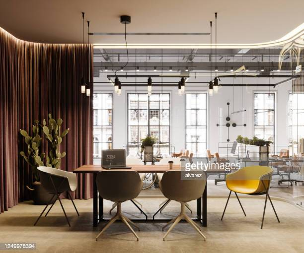 3d rendering of a creative office interior - coworking stock pictures, royalty-free photos & images