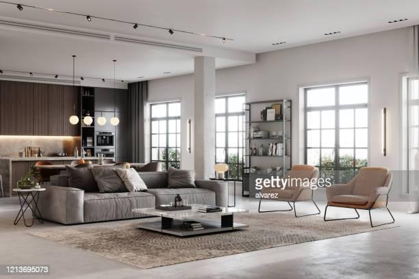 rendu 3d d'un salon entièrement meublé - appartement photos et images de collection
