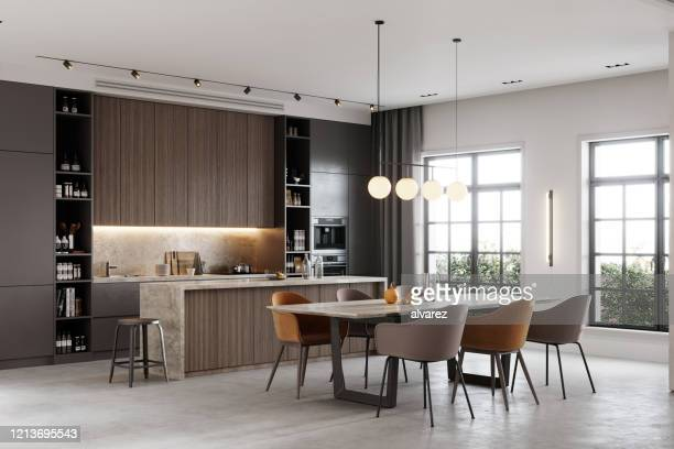 3d rendering of a kitchen and dining area in a living room - indoors stock pictures, royalty-free photos & images