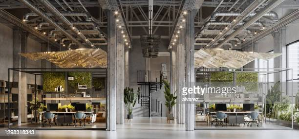 3d rendering of a large green office space - coworking stock pictures, royalty-free photos & images