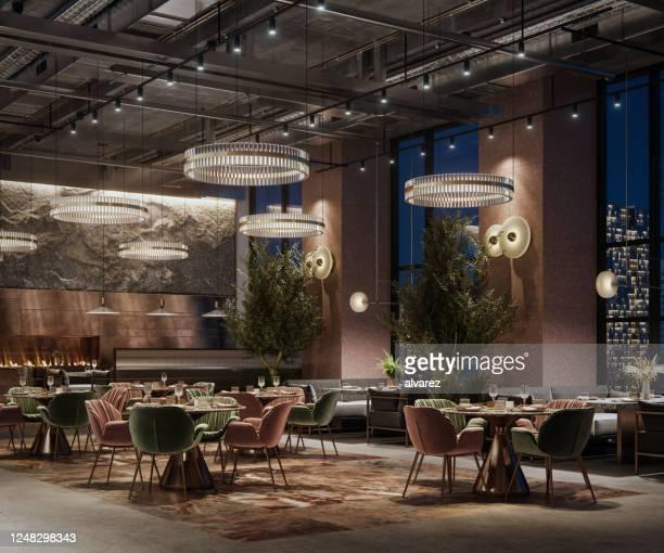 3d-rendering eines luxus-restaurant-interieurs in der nacht - restaurant stock-fotos und bilder