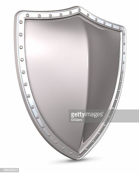 3d rendering of a silver shield on a white background - shield stock pictures, royalty-free photos & images