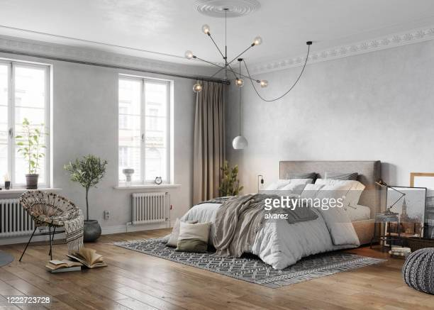 3d rendering of a tradional turn-of-the-century bedroom - bedroom stock pictures, royalty-free photos & images