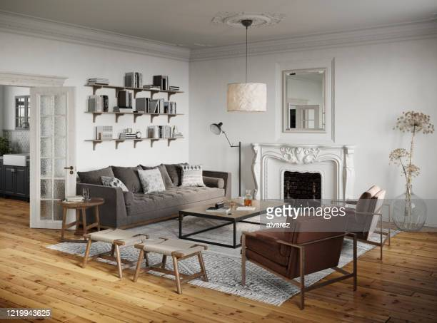 3d rendering of a traditional style living room - geographical locations stock pictures, royalty-free photos & images