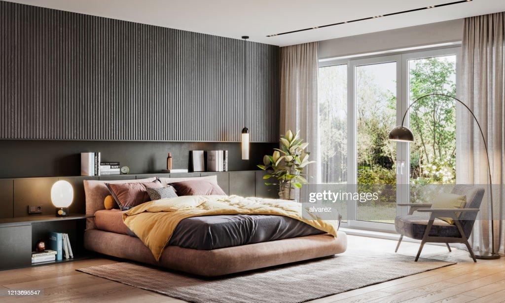 Representación 3D de un elegante dormitorio : Foto de stock