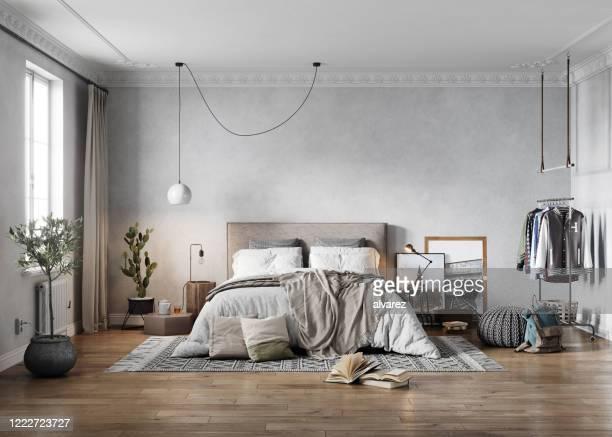 3d-rendering eines eleganten, altmodischen schlafzimmers - schlafzimmer stock-fotos und bilder