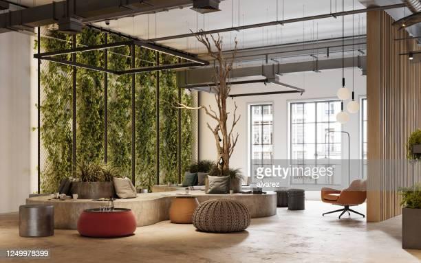 3d rendering of creative office space - dentro imagens e fotografias de stock