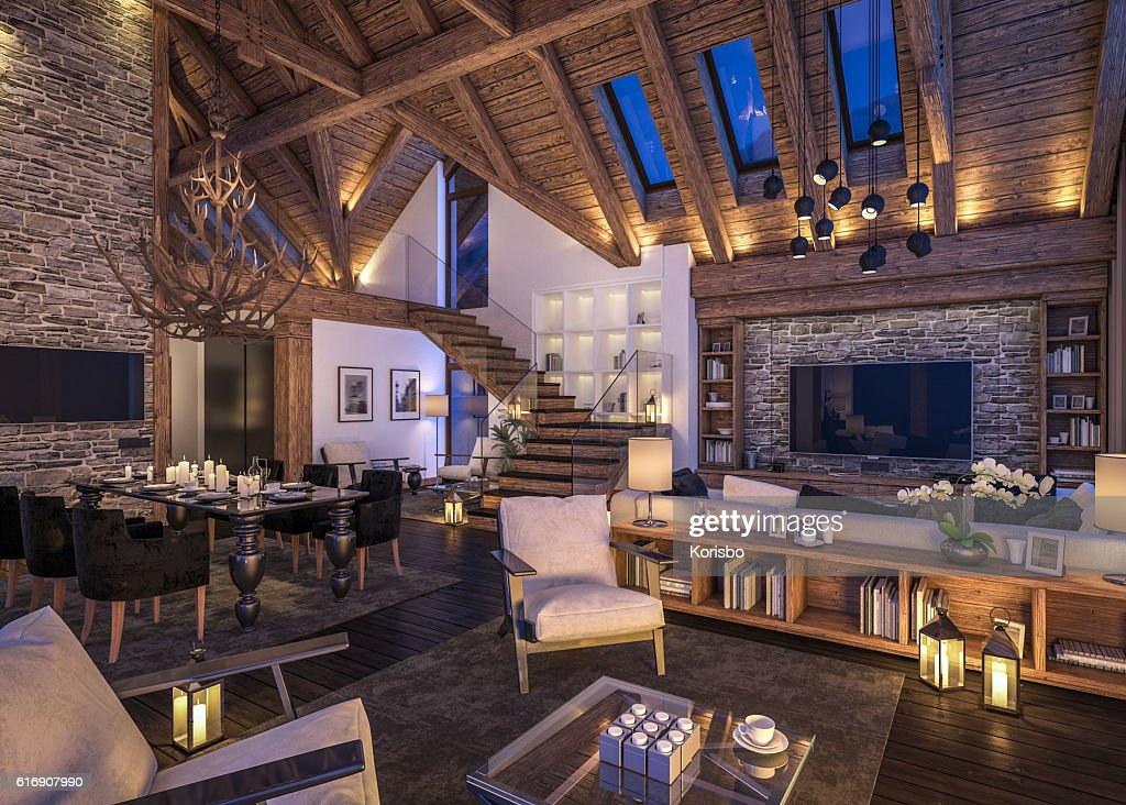 3D rendering of evening living room of chalet : Stock Photo