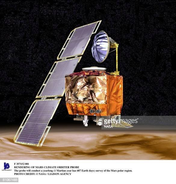 Rendering Of Mars Climate Orbiter Probe The Probe Will Conduct A Yearlong Survey Of The Mars Polar Region