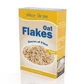 3D rendering of Oat Flakes paper packaging, isolated on white background.
