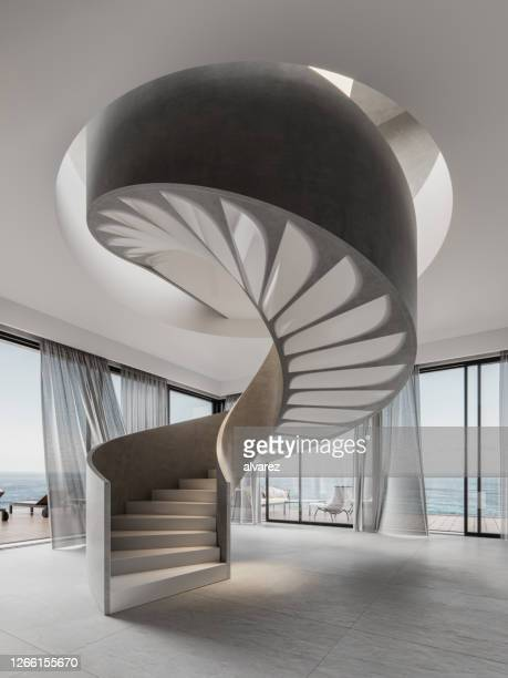 3d-rendering av spiraltrappa i ett modernt vardagsrum - period bildbanksfoton och bilder