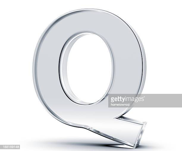 3D rendering of the letter Q made out of glass