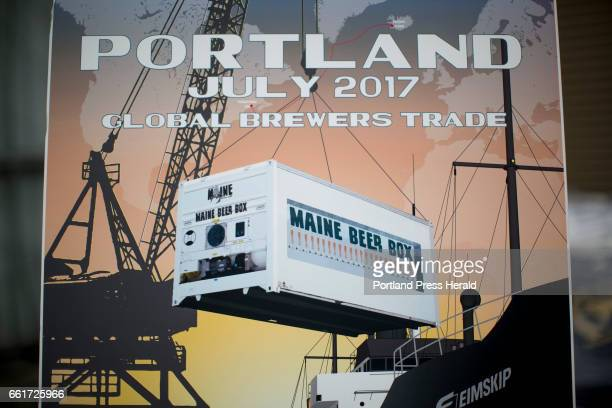 A rendering of the Maine Beer Box at the press conference about Eimskip and the Maine Brewers' Guild's new partnership