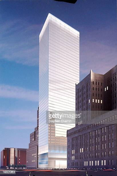 A rendering of the new 7 World Trade Center is seen here during a press conference at which the new plans where unveiled November 20 2002 in New York...