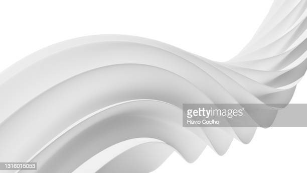 3d rendering of white swirl on white background - flowing stock pictures, royalty-free photos & images